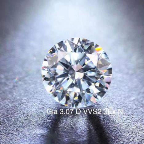 收藏品天然裸钻,3.07克拉 D色 VVS2净度,GIA证书