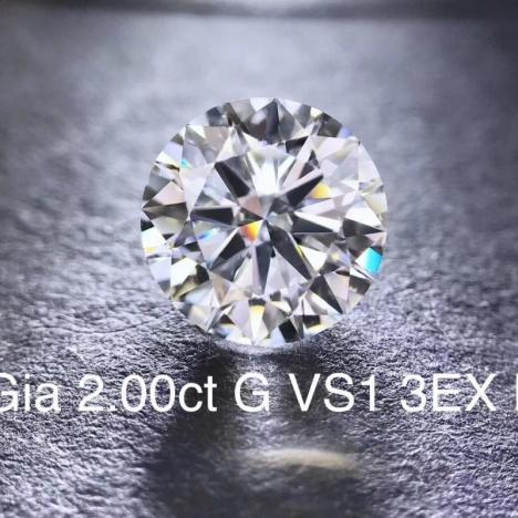 天然裸钻,2克拉 G色 VVS2净度,GIA证书图片