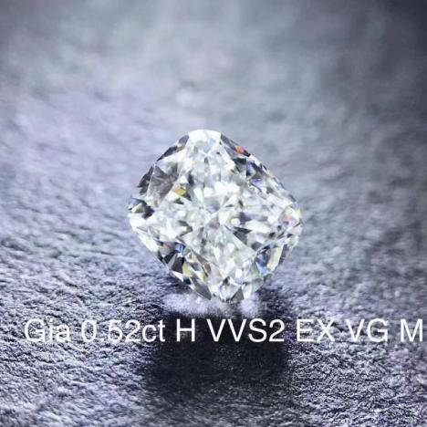 天然钻石裸石,0.52克拉 H色 VVS2净度,垫形,GIA证书图片