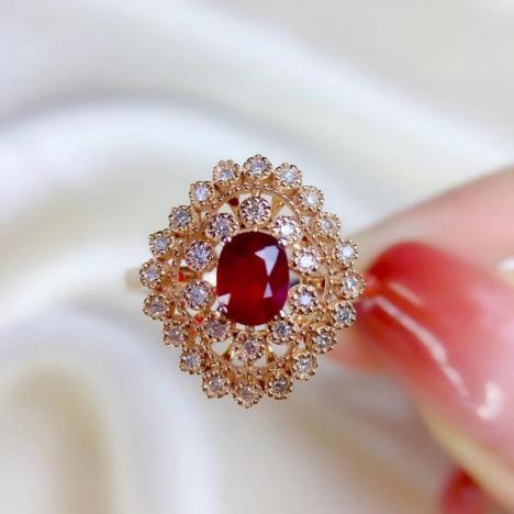 天然鸽血红红宝石戒指,0.67ct,无烧,18K金图片