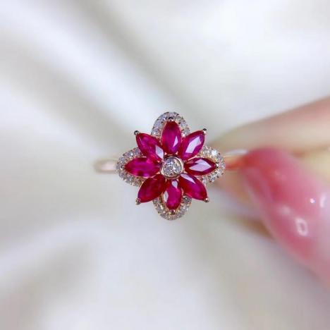 天然红宝石戒指,0.69ct,18K金镶嵌