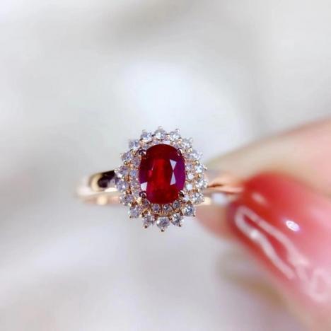 天然鸽血红红宝石戒指,0.62ct,无烧,18K金镶嵌