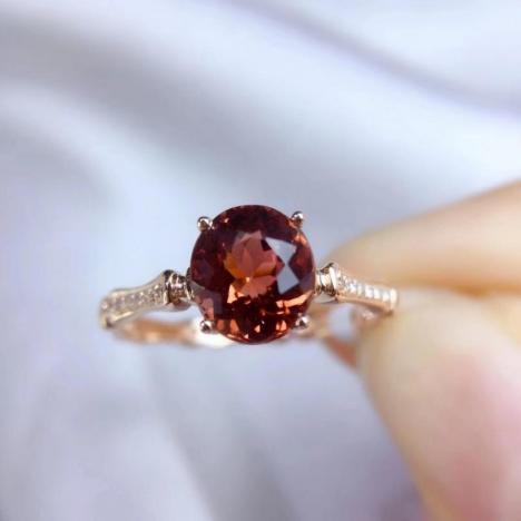 天然碧玺戒指,主石1.75ct,淡酒红色图片