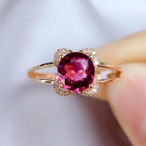 天然碧玺戒指,主石1.18ct 玫红色图片