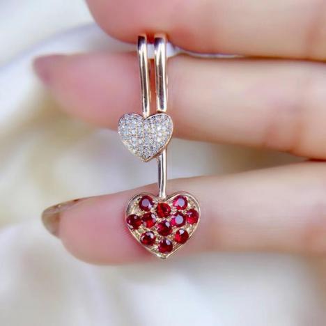 天然鸽血红爱心红宝石吊坠,0.72ct,我心永恒