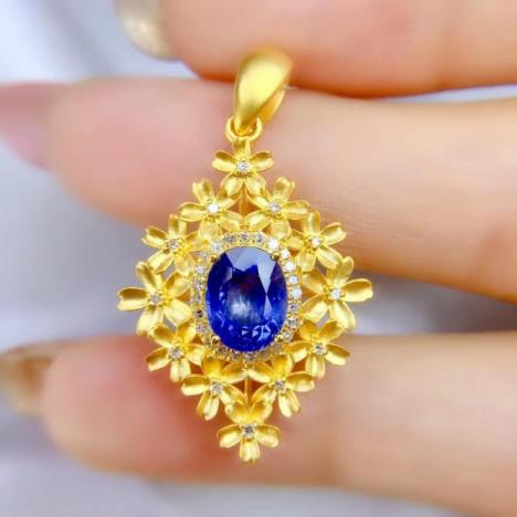 天然蓝宝石吊坠,2.1ct,富贵精致