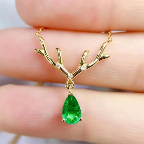 天然祖母绿锁骨链,0.48ct,18K金,鹿吊坠图片
