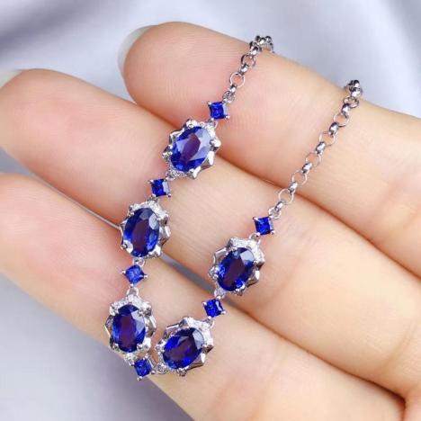 天然蓝宝石手链,3.28ct,做精致女人图片