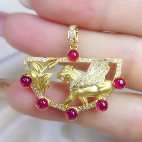 天然红宝石吊坠,2.25ct,18K金镶嵌图片