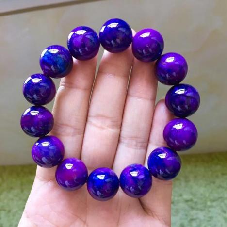 纯天然老料舒俱来皇家紫手链,15mm,重76.4克图片