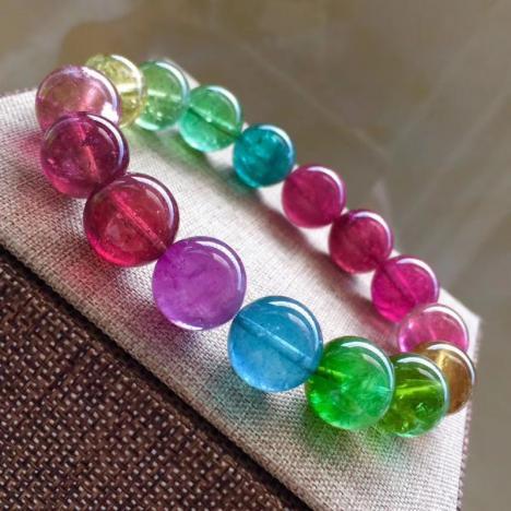 大颗珠珍品艳丽通透彩虹碧玺手链,13.2mm 重59.5g图片