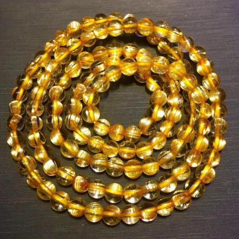 天然巴西钛晶三圈手链,5MM,19克,招财转运图片