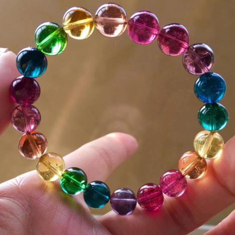 收藏级天然彩色碧玺手链,超通透,颜色艳,9mm,24.4克图片
