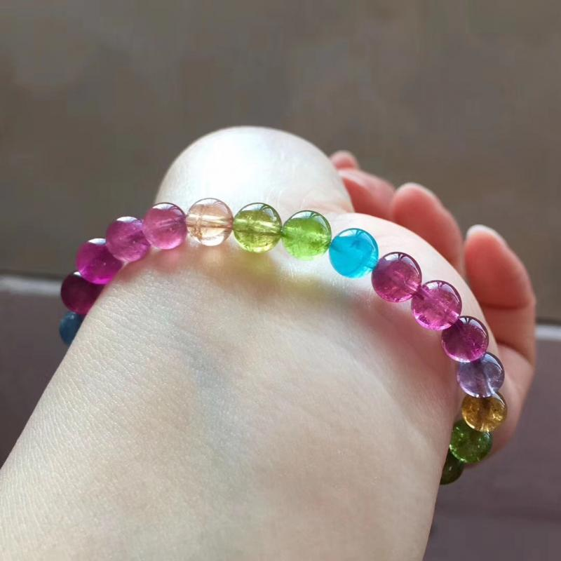 天然艳丽彩虹碧玺单圈手链,6.5mm,12.6克