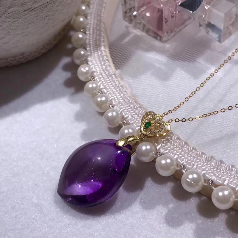 天然巴西紫水晶随形吊坠,925银,爱情宝石