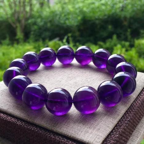 天然乌拉圭紫水晶手链,15MM 紫气东来图片