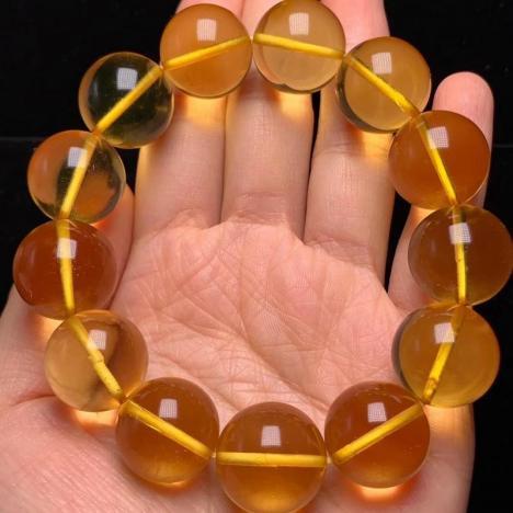 精品天然原矿金珀手链,约18MM 全净图片