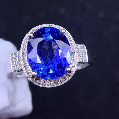 天然坦桑石戒指,裸石5ct,火彩好,晶体全净