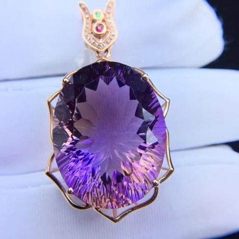 财智兼收,天然紫黄晶宝石吊坠,40.8克拉图片
