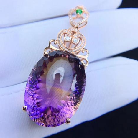 财智兼收,天然紫黄晶宝石吊坠,28.1克拉图片