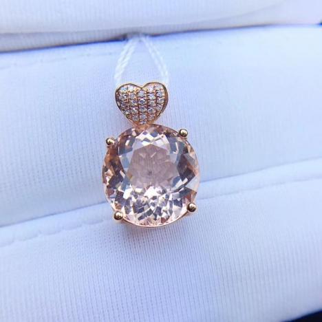 精品天然摩根石宝石吊坠,18K金镶嵌,4.81克拉