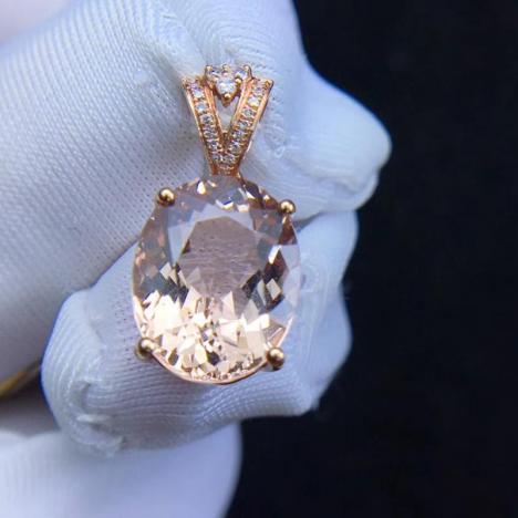精品天然摩根石宝石吊坠,18K金镶嵌,3.2克拉