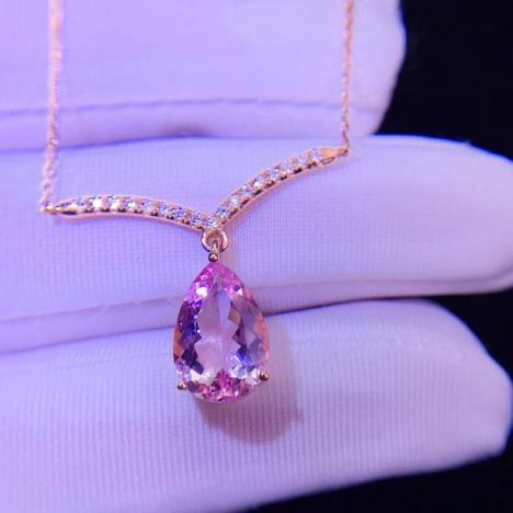 天然摩根石宝石锁骨链吊坠,18K金钻石镶嵌,3.5克拉图片