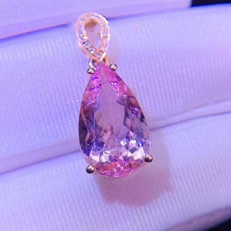 天然摩根石宝石锁骨链吊坠,18K金钻石镶嵌,5克拉