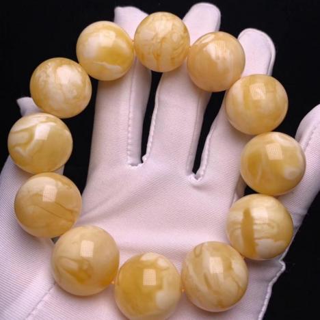 大颗粒天然原矿俄料白花蜜蜡手串,20MM,57克图片