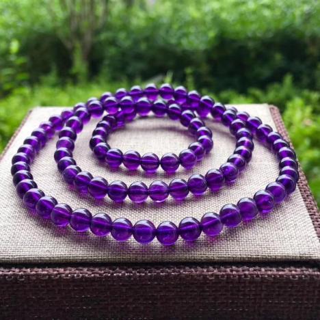 天然乌拉圭紫水晶三圈手链,6MM,优雅紫图片