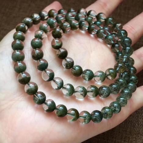 天然绿幽灵聚宝盆多圈手链,7.5mm,47.8克图片