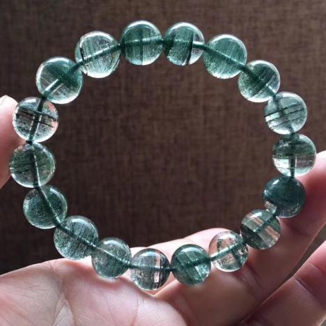 天然金沙千层绿幽灵手链,11.6MM,重37.4克图片