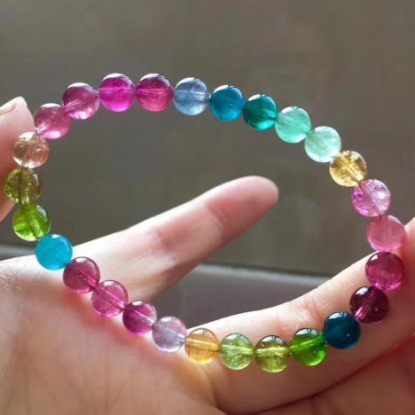 天然艳丽彩虹碧玺单圈手链,6.5mm,12.6克图片
