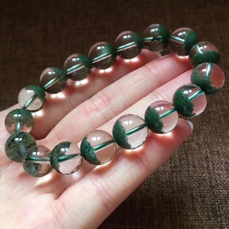 精品天然绿幽灵聚宝盆单圈手链,11.5MM,重38.4克图片