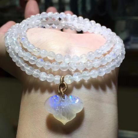 天然月光石多圈手链,12.5mm,助眠宝石图片