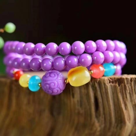 原创精品天然美国紫云母三圈手琏,6.5MM,优雅大方图片