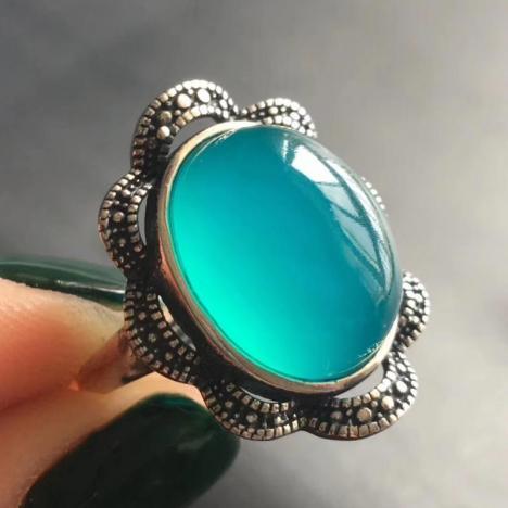 精品天河石戒指,高冰蓝,925银镶嵌,复古精致图片
