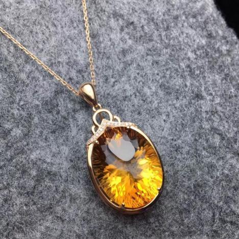 天然巴西橘黄水晶吊坠,18K金镶嵌,招偏财图片