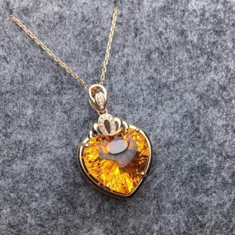 天然18K金镶嵌黄水晶吊坠,宝石级别爱心黄水晶图片