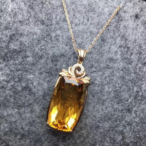 天然18K金镶嵌黄水晶吊坠,宝石级别 招偏财图片