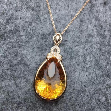 天然黄水晶宝石吊坠,水滴形 18k金镶嵌 图片