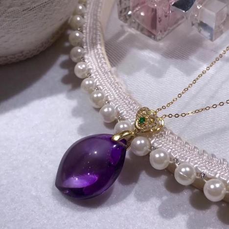 天然巴西紫水晶随形吊坠,925银,爱情宝石图片