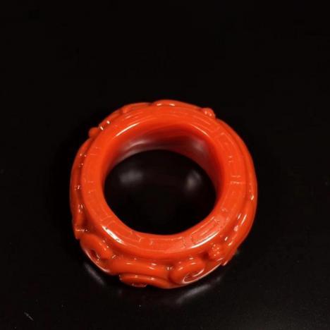 精品天然南红玛瑙指环,南红扳指,18.5圈口图片