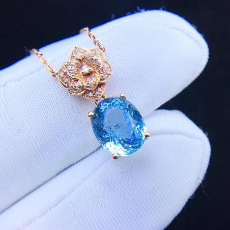 经典气质,天然海蓝宝锁骨链,裸石3ct,彩色宝石图片