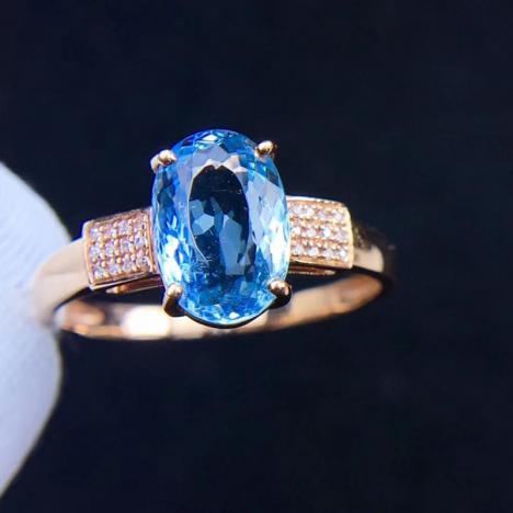 椭圆形天然海蓝宝戒指,18K金镶嵌,裸石2.1ct,火彩超赞图片