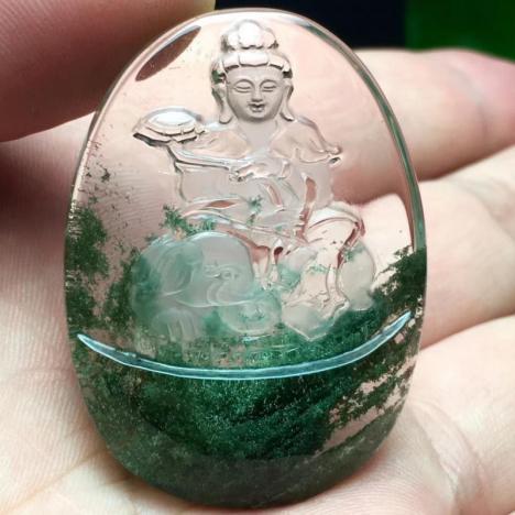 天然绿幽灵聚宝盆,本命佛吊坠,25.8克,晶体剔透,雕工精湛图片