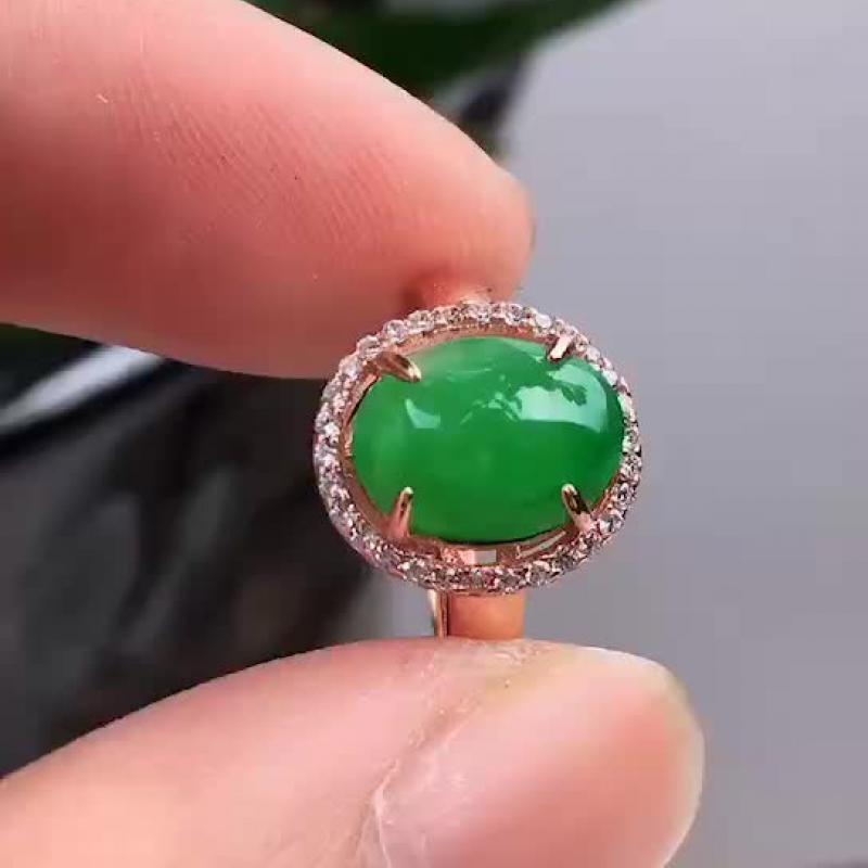天然A货翡翠,飘绿蛋面翡翠戒指