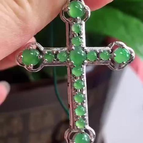 十字架,A货满绿翡翠吊坠 5.2g