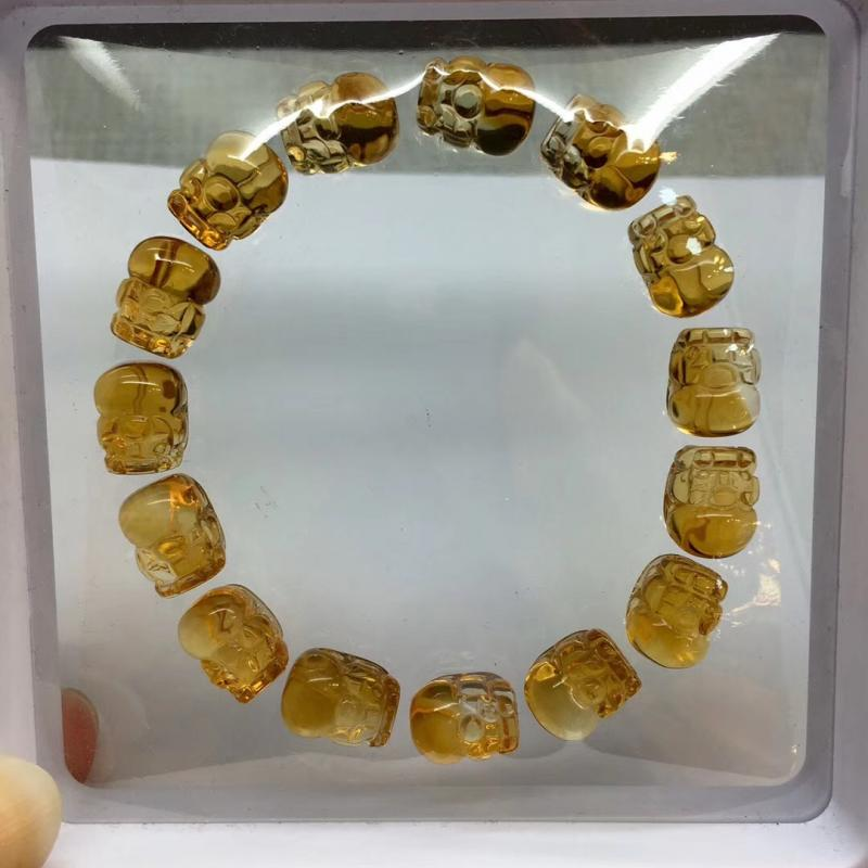 招财貔貅,天然巴西黄水晶貔貅手链,30.8克