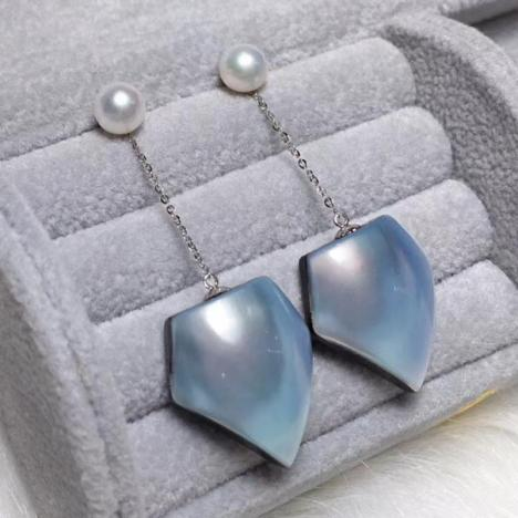 18K金镶嵌马贝珍珠耳环,配Akoya珍珠,两用款图片